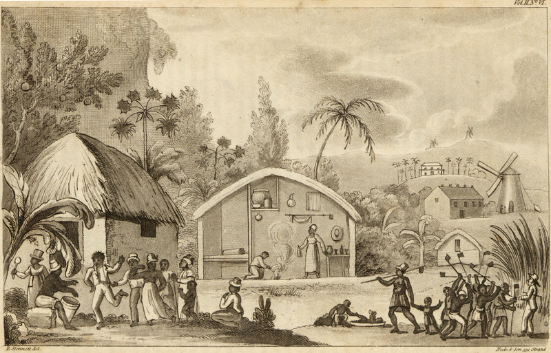 This engraving shows thatched houses and a cross-section of one with its interior furnishings. Shown are people dancing and playing musical instruments (see also image reference NW0014), and a work gang with the ubiquitous long-handled hoe and white overseer or manager. Background structures include the sugar mill and boiling house; behind these the manor or dwelling house, the residence of the owner or manager. The engraving presents a rather idyllic and pastoral view of slave life and activities. It masks a  reality that was far less picturesque. It does not show the abject material conditions of the enslaved, the dilapidation of their housing, their tattered and worn clothing, the hunger they often suffered, the blandness (and often inadequacy) of their food rations, and the contaminated water they frequently drank; it also obscures the illness and infirmities that were widespread in plantation villages or settlements. Waller, a British naval surgeon, lived in Barbados for a year in 1807-08, but there are no references in the text to this illustration, and it is not known if the engraving was based on Wallerís own eyewitness sketch or was the creation of some artist or the engraver, identified as R. Sennett. For discussions of the housing and settlements of the enslaved in Barbados, see Jerome Handler,   Plantation Slave Settlements in Barbados, 1650s-1834, In A. Thompson, ed., In the Shadow of the Plantation: Caribbean History and Legacy (Ian Randle publisher, Kingston, Jamaica, 2002), pp. 121-158; ibid., Vernacular Houses and Domestic Material Culture on Barbados Sugar Plantations, 1650-1838, Jl of Caribbean History 43 (2009): 1-36.
