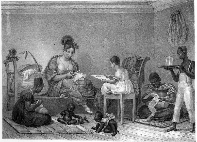 Titled Une Dame Bréilienne dans son intérieur (A Brasilian lady inside her home), shows three black servants attending a white (?) woman and her daughter; two black infants are crawling on the floor. The engravings in this book were taken from drawings made by Debret during his residence in Brazil from 1816 to 1831. For watercolors by Debret of scenes in Brazil, some of which were incorporated into his Voyage Pittoresque, see Jean Baptiste Debret, Viagem Pitoresca e Historica ao Brasil (Editora Itatiaia Limitada, Editora da Universidade de Sao Paulo, 1989; a reprint of the 1954 Paris edition, edited by R. De Castro Maya).