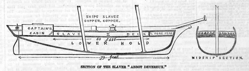 Caption, Section of the Slaver, 'Abbot Devereux'. Accompanies an article describing the chase and capture of an unidentified slaving vessel. See illustration Capture of a Slave Ship, 1857 on this website. On this illustration, note on the top deck, the ship's copper and the slaves copper the large cauldrons in which food was cooked (see image references cauldron_lg and cauldron_sm on this website).