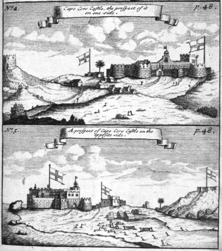 "Both views show African houses/village in the center. Bosman described how ""this is the English chief fort, which next to that of St. George d'Elmina is the largest and most beautiful on the whole coast; within it is well furnished with fine and well-built dwelling-places; before it they have also built a high turret to secure the lives of the people of the town, in case of an invasion of hostile Negroes"" ( pp. 48-49). Bosman was an official of the Dutch West India Company and chief factor at Elmina. See also Christopher DeCorse, An Archaeology of Elmina: Africans and Europeans on the Gold Coast, 1400-1900 (Smithsonian Institution Press, 2001)."