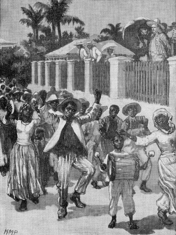 Slaves in Barbados and throughout the British Empire were emancipated in 1834-38. This illustration is sometimes reproduced in modern secondary sources treating slavery in the British Empire to suggest an eyewitness depiction of an event that actually occurred on the island. However, it is a late 19th century unidentified artist's (the initials HMP are in the lower left hand corner) fanciful depiction. Reproductions of this image in secondary sources never give the original source, but the historian John Gilmore's meticulous research identified the illustration's first publication as the Jubilee edition of Cassell's History of England (1886-95, vol. 5, p. 369). Gilmore's critical discussion of the illustration stresses that it does [not] seem to be of any real value as historical evidence about popular festivals in Barbados, and is based solely on the artist's own imagination, rather than any direct observations or hearsay evidence (see That Emancipation Picture, Banja: a magazine of Barbados life and culture [The Barbados National Cultural Foundation, 1990], issue no. 5, pp. 10-12). The same illustration was reprinted in subsequent editions of Cassell's History, e.g., the Century edition, (1903, vol. 5), the King's edition (London, 1909), the Special edition (London, n.d.).