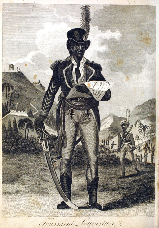 Rainsford, a British military officer, gives a detailed first-hand account of Louverture which formed the basis for this undoubtedly embellished portrait created for his book. Although this image of Toussaint is often reproduced in secondary works on the history of Haiti, it was not made from life and no such portrait of Louverture is known to exist. The portrait is based on Rainford's published description: In person,Toussaint was of a manly form, above the middle stature, with a countenance bold and striking, yet full of the most prepossessing suavity--terrible to an enemy, but inviting to the objects of his friendship or his love. His manners and his deportment were elegant when occasion required, but easy and familiar in common; --when an inferior addressed him, he bent with the most obliging assiduity, and adapted himself precisely, without seeming condescension, to their peculiar circumstances. He received in public a general and voluntary respect . . . . His uniform was a kind of blue jacket, with a large red cape falling over the shoulders; red cuffs, with eight rows of lace on the arms, and a pair of large gold epaulettes thrown back; scarlet waistcoat and pantaloons, with half boots; round hat, with a red feather, and a national cockade; these, with an extreme large sword, formed his equipment. He was an astonishing horseman and travelled with inconceivable rapidity (pp. 252-53). See also other images of Toussaint on this website.