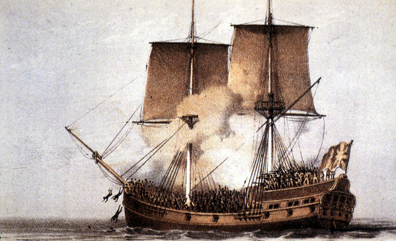 This image shows a crowded top deck of slave ship with ship's crew firing guns on captives; some Africans diving overboard. William Fox was a radical abolitionist pamphleteer in late eighteenth century Britain. Fox's support for emancipation in revolution was unusually strong for the eighteenth century. This colored illustration was first published in black and white in Carl B. Wadstrom, An Essay on Colonization, particularly applied to the Western coast of Africa. . . in Two Parts (London, 1794, 1795; reprinted New York, A.M. Kelley, 1968). A copy is also held at the Widener Library, Harvard University.