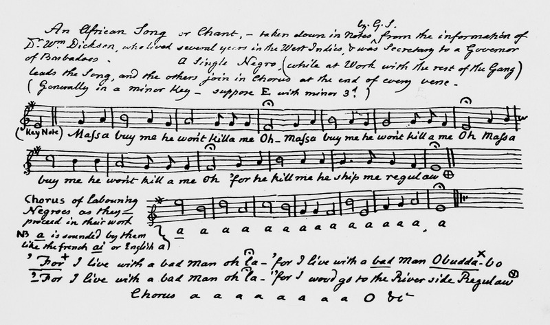 This one-page manuscript, also shown on the Gloucester Archives website, is described as: An African Song or Chant,--taken down in notes by G.S. from the information of Dr. Wm. Dickson, who lived several years in the West Indies, & was secretary to a Governor of Barbadoes. A Single Negro (while at work with the rest of the gang) leads the song, and the others join in chorus at the end of every verse. This work song incorporates the widespread African musical feature of call-and-response. William Dickson lived in Barbados for about 13 years from 1772, was well acquainted with slavery and slave life in Barbados and authored two well-known books on the island. He later joined the British abolitionist movement and became a leading member of that movement in Scotland. The G.S. in the manuscript is Granville Sharp, a prominent British abolitionist. The wider context of this song in the musical lives of the enslaved is discussed in J.S. Handler and C.J.Frisbie, Aspects of Slave Life in Barbados: Music and its Cultural Context, Caribbean Studies 11 (1972): 5-46. The linguistic features of the text are discussed in J. R. Rickford and J. S. Handler, Textual Evidence on the Nature of Early Barbadian Speech, 1676-1835. Journal of Pidgin and Creole Languages 9 (1994): 221-255.