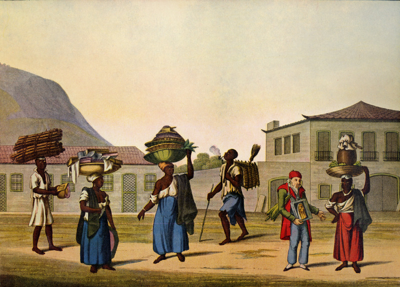 Caption, Largo Da Gloria, shows the types of people that might be found on a street in this suburb of Rio. The people depicted, from left to right, are a man carrying a load of wood on his head, while amusing himself by playing a madimba de Btsch