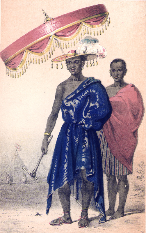 "This image shows the king of Dahomey in regalia with one of his retainers holding an umbrella. Forbes described ""His Dahoman Majesty, King Gezo, is about 48 years of age, good looking. . . his appearance commanding, and his countenance intellectual, though stern in the extreme. That he is proud there can be no doubt. . . the king was plainly dressed, in a loose robe of yellow silk slashed with satin stars and half-moons, Mandingo sandals, and a Spanish hat trimmed with gold lace; the only ornament being a small gold chain of European manufacture"" (vol. 1, pp. 76-77). Frederick E. Forbes went to Dahomey in the Bight of Benin region on a British anti-slavery mission in 1849 and 1850. On his first voyage, he ""rescued"" an Egbado princess, Sara Forbes Bonetta, whom he ""gifted"" to Queen Victoria."