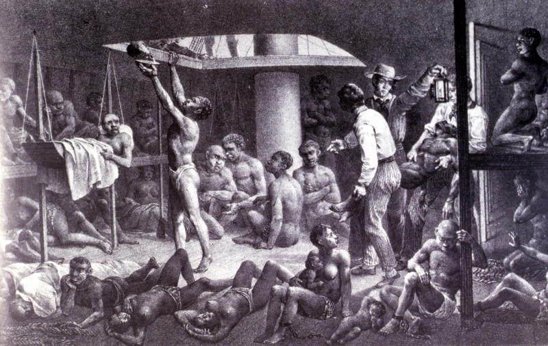 """""""Negroes at the bottom of the hold"""" (caption translations). This image shows men, women, children below deck, with European sailors/guards. Johann Moritz Rugendas (1802–1858) was a German painter, famous for his works depicting landscapes and ethnographic subjects in the Americas, in the first half of the nineteenth century. Rugendas arrived in Brazil in 1822, hired as an illustrator for Baron von Langsdorff's scientific expedition. Rugendas remained on his own in Brazil until 1825, exploring and recording his many impressions of daily life in the provinces of Minas Gerais and Rio de Janeiro, and quickly the coastal provinces of Bahia and Pernambuco on his journey back to Europe. He produced mostly drawings and watercolors. He returned to Europe and between 1827 and 1835 he published his book with the help of Victor Aimé Huber. For an analysis of Rugendas' drawings, as these were informed by his anti-slavery views, see Robert W. Slenes, African Abrahams, Lucretias and Men of Sorrows: Allegory and Allusion in the Brazilian Anti-slavery Lithographs (1827-1835) of Johann Moritz Rugendas (Slavery & Abolition, vol. 23 [2002], p. 147-168)."""