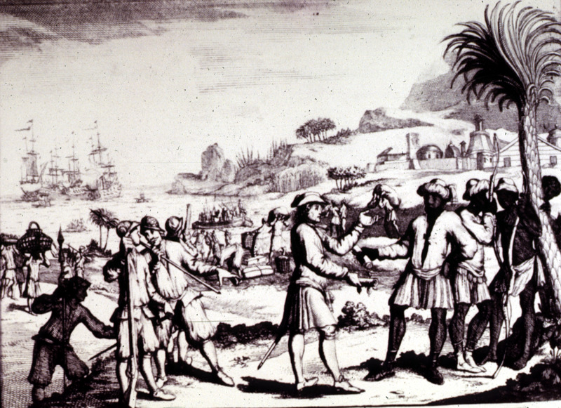"""""""Fort of Moor Fort, on the Island of Moyella"""" (caption translation). Moyella Island is one of the Comoros Islands in the Indian Ocean. This engraving shows a fort, Europeans purchasing slaves and transporting them to a waiting ship."""