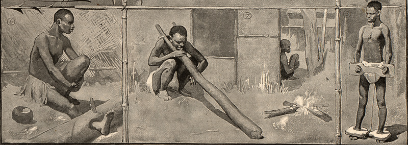 This image shows various ways of restraining enslaved people from the Central Interior region. Charles Edwin Fripp (1854–1906) made this illustration. He was an English painter and illustrator, and special war artist, who produced images for various wars in South Africa including: Kaffir War, Zulu War and the Boer War.