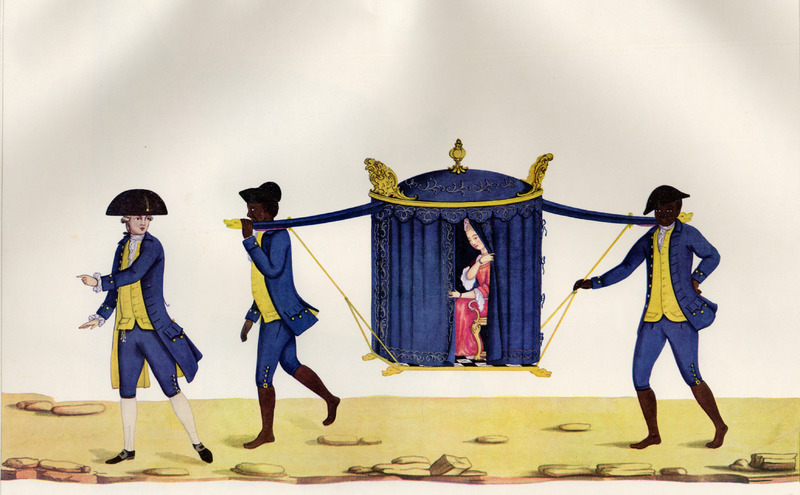 An upper class woman being transported in her sedan chair by two slaves, each dressed in livery but barefoot; they follow a white man, dressed in the same colors, but who is wearing shoes. The matching colors of the clothing and the sedan chair indicate they all belong to the same owner or property. Born in Italy ca. 1740, Juliao joined the Portuguese army and traveled widely in the Portuguese empire; by the 1760s or 1770s he was in Brazil, where he died in 1811 or 1814. For a detailed analysis and critique of Juliao's figures as representations of Brazilian slave life, as well as a biographical sketch of Juliao and suggested dates for his paintings, see Silvia Hunold Lara, Customs and Costumes: Carlos Juliao and the Image of Black Slaves in Late Eighteenth-Century Brazil (Slavery & Abolition, vol. 23 [2002], pp. 125-146).