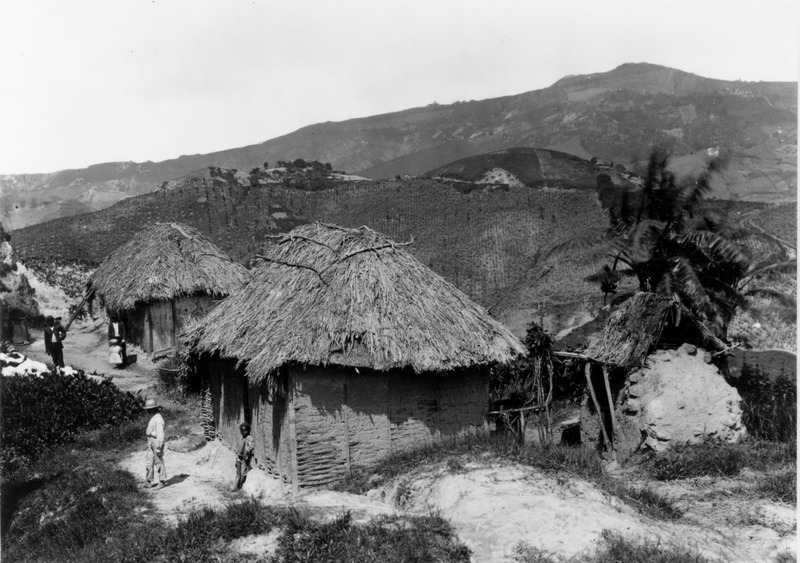 No date is given for this photo, but the Library of Congress dates it between ca. 1890 and 1923. Although long after slave emancipation in the British West Indies, the houses are very similar, if not identical, to the most common type of slave housing in Barbados. The area of Barbados is not identified, but it is clearly the Scotland District, perhaps the pottery-making village of Chalky Mount; what appears to be a beehive kiln is shown in the lower right hand corner