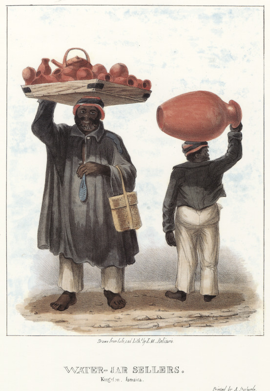"""This lithograph shows two men carrying pottery, or water jars, on their heads. The pottery in tray on the left includes (on the very top) the globular tea-pot shaped ceramic ware known in the Anglophone Caribbean as a monkey or monkey jar, used to hold water and keep it cool. This might be the earliest known illustration of the monkey in the Caribbean. The large pot being carried on the right appears to be a Jamaican version of the Spanish [olive] jar.  Belisario provided a detailed description of water supplies in Jamaica, particularly Kingston, and noted that """"the porous water jars in ordinary use are manufactured at potteries near the city; the two men shown here are apprentices who sally forth daily. The blue bag hanging from the neck of the taller man is a purse, every female Negro also carries a similar appendage at her waist."""" Isaac Mendes Belisario (1795–1849) was a Jamaican artist of Jewish descent and active in Kingston Jamaica around British emancipation in 1833. The image shown here, as well as others of """"John-Canoes,"""" was drawn from life by Belisario in 1836. This lithograph is one of twelve originally published in three parts, four plates at a time."""