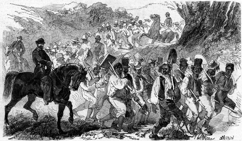 This illustration, not based on an eyewitness drawing, is supposed to portray escaped Southern slaves working on Union army fortifications in Port Royal, South Carolina; it illustrates a brief article (p. 22) which lauds the work of these slaves and stresses that the whip is not needed to induce them to work