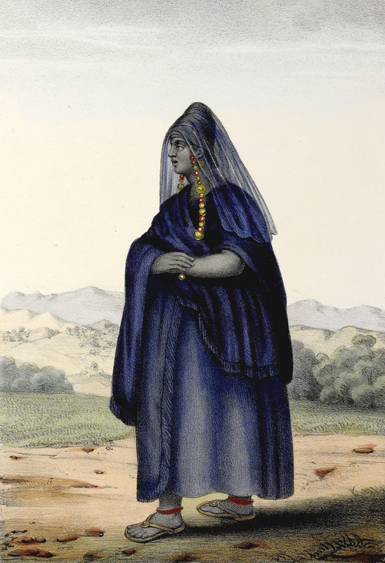 """Sarakole Woman"" (caption translation). The Soninke (Sarakole, Seraculeh, Serahuli, among other variations) are from the Fuuta Jalon highlands in the Senegambia region. They speak Soninke, which is one of the Mande languages. Boilat described how this woman was ""clothed in an elaborate indigo-dyed blue gown with turban or head-tie and a gauze veil (which she made herself), the woman is shown with an intricate long necklace of coral and enormous amber beads that hangs down to her chest. This outfit is worn on solemn occasions and the same type of dress, the author notes, is also found among the neighboring Toucouleur"" (p. 29). David Boilat (1814-1901) was one of the first Catholic priests in the Senegambia region. His father was French and his mother a Signare, which was a term from the eighteenth and nineteenth centuries used to describe a mixed-race, French-African woman. Boilat spoke Wolof and Serer; and made his drawings from life. The 24 plates based on these drawings are explained in an accompanying text. Boilat left Senegal around the age of 13, was educated in France and he returned to Senegal in 1842 where he lived for ten years working as a teacher. He returned to France where he completed his Esquisses sénégalaises in 1853. He also published a Wolof dictionary in 1858."