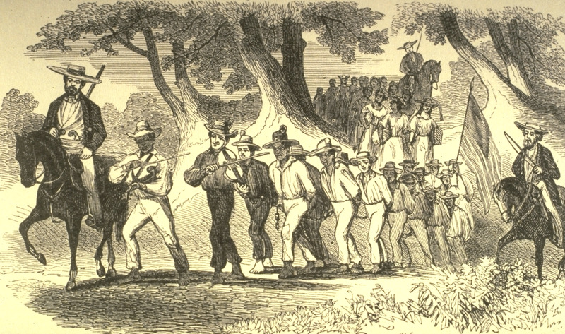 Caption, The Coffle Gang; led by white on horseback and black musicians at the front. An eye-witness account of the scene depicted in this illustration is given on pp. 164-65 of this abolitionist book; the scene described is of about forty men, all chained together. . . . Behind them were about thirty women, in double rank, the couples tied hand to hand....