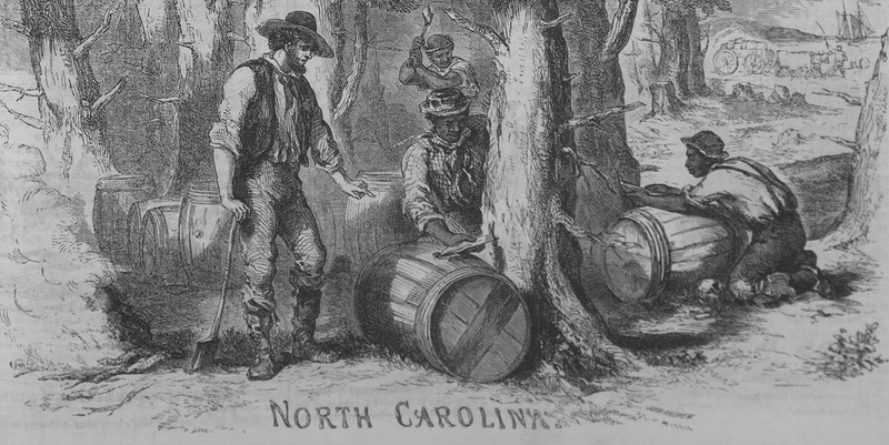 """This engraving illustrates the fabrication of turpentine as men drain sap from trees into barrels. According to the accompanying text, """"The yeoman with the axe has been engaged in tapping [one of] these pines to obtain the crude turpentine . . . . The Negro hands are busy in directing its flow into the bung-holes of the barrels rolled against the trees for this purpose. A Negro in the middle distance is making an incision in the bole of a pine tree with an axe. . . the turpentine in the form of tar and pitch is exported in great quantities"""" (p. 289). Frederick Gleason (1817-1896) was a writer and publisher. He co-founded an illustrated periodical called Gleason's Pictorial Drawing-Room Companion in Boston, Massachusetts in 1851. The publication name was changed to Ballou's Pictorial Drawing-Room Companion, after the other co-founder, managing editor, writer and publisher, Maturin Murray Ballou (1820–1895), bought out the interest of Gleason in 1855."""