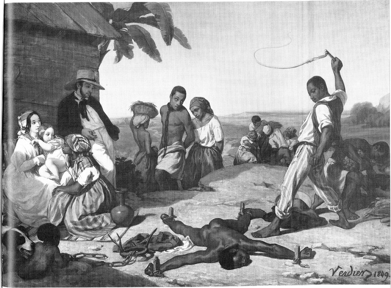 Lying on his stomach, the victim's hands and legs are tied to stakes while he is being whipped by the black overseer; next to one of his legs is the iron spiked collar, with attached chain, which was often attached to the neck of captured fugitive slaves. Other slaves and the planter and his family witness the scene. Marcel Verdier (1817-1856) gave an 1849 date to his work (see lower right hand corner), but it may have been done in 1843 for an exhibition at the Paris Salon. Originally advertised by the title Le Supplice de Fouet, it was listed in a catalog for the exhibition as Chatiment des Quatres Piquets dans les Colonies (Punishment of the Four Stakes/Pegs in the Colonies), the name by which it is commonly known. The exhibition jury rejected the painting because its harsh theme would have offended the colonial ambassadors in Paris (William Hauptman, Juries, Protests, and Counter-Exhibitions before 1850. The Art Bulletin 67 [1985], pp. 105- 106; see also Hugh Honour, pp.153-154, 156). Although this painting has often been reproduced in books dealing with New World slavery, it is not based on the artist's own observations. (Thanks to Claude Picard for his help.)