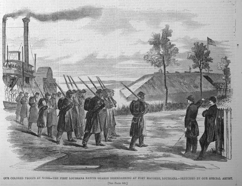 This illustration shows a contingent of the First Louisiana Native Guards disembarking from a steam ship at Fort Macombe. Accredited to Harper's special artist. The 1st Louisiana Native Guards, formed in April 1861 of free people of color, was accepted as part of the Louisiana militia, but went over to the Union side in 1862. For details, see James G. Hollandsworth, The Louisiana Native Guards: The Black Military Experience During the Civil War (Louisiana State University Press, 1995). Harper's Weekly: A Journal of Civilization was an American political magazine based in New York City and published by Harper & Brothers from 1857 until 1916. It featured foreign and domestic news, fiction, essays on many subjects and humor, alongside illustrations. It covered the American Civil War extensively, including many illustrations of events from the war. See also image HW1863a