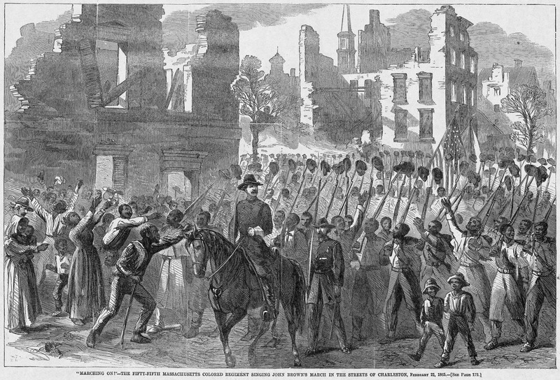 This scene shows a large number of soldiers marching and singing through the streets of Charleston. Harper's Weekly: A Journal of Civilization was an American political magazine based in New York City and published by Harper & Brothers from 1857 until 1916. It featured foreign and domestic news, fiction, essays on many subjects and humor, alongside illustrations. It covered the American Civil War extensively, including many illustrations of events from the war.