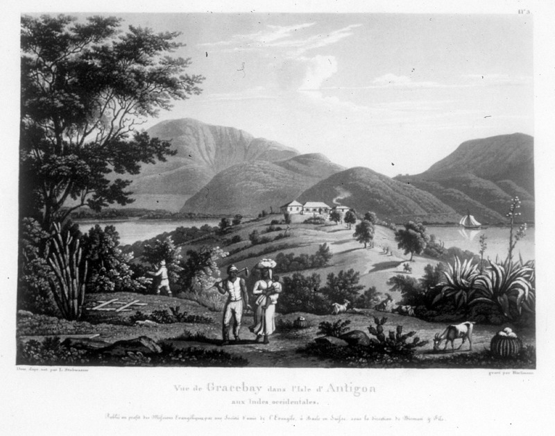 """""""View of Gracebay in the Island of Antigua in the West Indies"""" (caption translation). This engraving shows a plantation house in the background, while a man carrying a hoe and a woman holding a child in her arms with a bundle on her head are in the foreground. One of a set of four separately published engravings, which were likely compiled by John Henry Lewis Stobwasser, probably the son of Johann Heinrich Stobwasser (1740-1829), who was a Moravian missionary in Antigua from 1812 until 1822."""