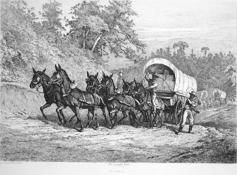 Captioned, The supply train, shows two black wagoneers with whips leading a mule (?)-drawn covered wagon; other wagons follow, and a white Union soldier can be seen behind the lead wagon.