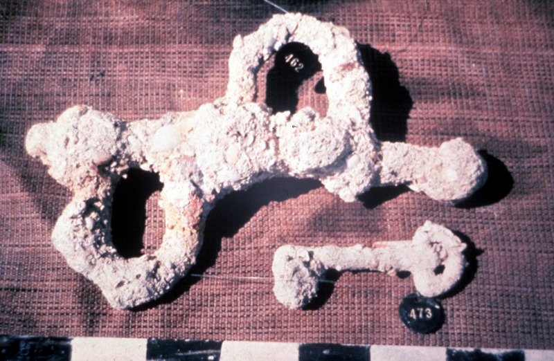 Photo of archaeologically-recovered shackles. The Henrietta Marie transported about 200 slaves from the Bight of Biafra to Jamaica in 1699-1700. For details, see David Moore, Site Report: Historical and Archaeological Investigation of the Shipwreck Henrietta Marie (Mel Fisher Maritime Heritage Society, 1997).