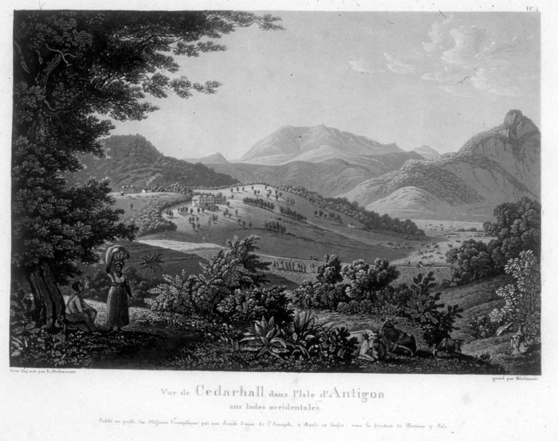 """View of Cedarhall in the island of Antigua in the West Indies"" (caption translation). This engraving shows the Cedarhall plantation with the big house in the background and male and female figures in the foreground. One of a set of four separately published engravings, which were likely compiled by John Henry Lewis Stobwasser, probably the son of Johann Heinrich Stobwasser (1740-1829), who was a Moravian missionary in Antigua from 1812 until 1822."