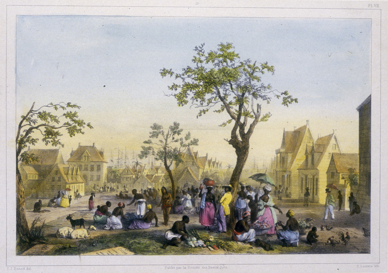 """""""View of the Central Market of Vegetables, Fruits and Poultry"""" (caption translation). This engraving shows a busy market in the center of Paramaribo, nestled in among Dutch-style housing. Note the gravestones on the ground in the lower left. Benoit described this area """"as a large square. In former years the cemetery was located there, but the government, fearing an epidemic, moved it to the city's outskirts"""" (p. 17). Pierre Jacques Benoit (1782-1854) was a Belgian artist, who visited the Dutch colony of Suriname on his own initiative for several months in 1831. He stayed in Paramaribo, but visited plantations, maroon communities and indigenous villages inland."""