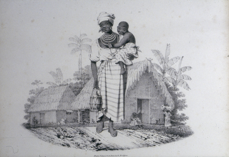 """This image shows a fully attired woman with necklace and head tie, carrying a small child and a calabash container with thatched-roof houses in the background. Bridgens wrote """"the manner of carrying their children astride on the hip. . . is peculiar to the Negress. . . The female is in the usual dress worn by the Negress in the occupations of the field. It consists of a chemise of cotton, confined by a girdle; sometimes, of a vest down to the waist, and a loose petticoat from thence to the knees. The neck is covered with several rows of coral and glass beads, and the ears adorned with immense earrings. The head is bound round with a madras handkerchief. . . The usual form of Negro hut is given in the background. The walls, consisting of a kind of wicker-work, covered with a thick coating of mud. . . The roof is thatched with. . . 'trash,' that is the dead leaves of the cane. The woman is holding a tootoo, one of the numerous vessels formed by the Negroes for domestic purposes from the shell which covers the fruit of the calabash tree."""" A sculptor, furniture designer and architect, Richard Bridgens was born in England in 1785, but in 1826 he moved to Trinidad where his wife had inherited a sugar plantation, St. Clair. Although he occasionally returned to England, he ultimately lived in Trinidad for seven years and died in Port of Spain in 1846. Bridgens' book contains 27 plates, thirteen of which are shown on this website. The plates were based on drawings made from life and were done between 1825, when Bridgens arrived in Trinidad, and 1836, when his book was published. Although his work is undated, the title page of a copy held by the Beinecke Rare Book Room at Yale University has a front cover with a publication date of 1836, the date usually assigned to this work by major libraries whose copies lack a title page. Bridgens' racist perspectives on enslaved Africans and his defense of slavery are discussed in T. Barringer, G. Forrester, and B. Martinez-Ruiz, Art and"""