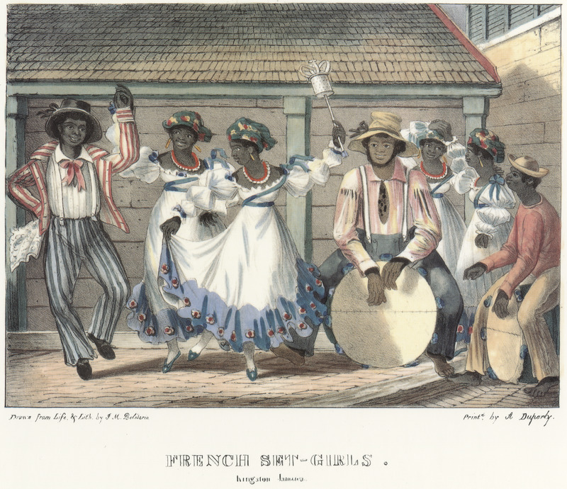 """This lithographs shows women and men dancing, while a man sits on top of large circular drum. Belisario explained how these African and Creole enslaved people came to Jamaica  with their owners from St. Domingue during the Haitian Revolution. He described how """"the French Sets are invariably observers of taste and decorum, considering it derogatory to dance elsewhere than in dwelling-houses, or within walled premises. . . They have their Queen and allow male companions to join in their dances, during which two drums or 'Tamboos' are played, and an instrument shaken, called a 'Shaka.' . . The tasteful style in which the French Girls tie their kerchiefs on their heads, has ever been the envy of the Creole [women] of Jamaica, who make ineffectual efforts to imitate it."""" Isaac Mendes Belisario (1795–1849) was a Jamaican artist of Jewish descent and active in Kingston Jamaica around British emancipation in 1833. The image shown here, as well as others of """"John-Canoes,"""" was drawn from life by Belisario in 1836. This lithograph is one of twelve originally published in three parts, four plates at a time."""