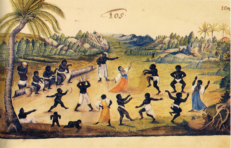 Men, women, and children dancing; group with various musical instruments, including drums, sitting on tree trunk (left). Of this illustration, Wagener/Wagner writes When the slaves have carried out their arduous duties for weeks on end, they are allowed to celebrate one Sunday as they please; in large numbers in certain places and with all manner of leaps, drums, and flutes, they dance from morning to night, all in a disorganized way, with men and women, young and old; meanwhile, the others drink a strong spirit made with sugar, which they call 'garapa'; they spend all day like that in a continuous dance . . .  (vol. 2, p. 194). Wagener was a German mercenary for the Dutch West India Company; in 1634, at the age of about 20, he went to northeastern Brazil and stayed there for 7 years. James Sweet identifies this scene as depicting a calundu, a divination ceremony that involved spirit possession, and notes that several of the Africans appear to have already been possessed by ancestral spirits. In particular . . . the man with the crest of feathers on his head and the woman at the center of the painting. The feathers indicated possession by a powerful ancestral figure, perhaps a former chief or king. Also . . . the man on the far left, imbibing what may be the ceremonial drink alua from a clay jar ( Recreating Africa: Culture, Kinship, and Religion in the African Portuguese World, 1441-1770 [University of North Carolina Press, 2003], pp. 144, 150).