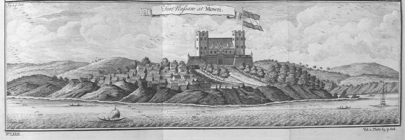 This engraving depicts Fort Nassau and a town, called Moree, in the Voltaic region. It was the first fort that the Dutch established in 1598. Thomas Astley (d. 1759) was a British bookseller and publisher who never went to Africa. His imagined localities and illustrations of Africa were informed by a library of travel books at his disposal.