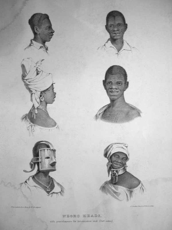"""Bridgens wrote """"the tin collar is a punishment for drunkenness in females, while the mask is a punishment and preventative of. . . dirt eating. Dirt eating, or geophagy was widespread among West Indian slaves, but its etiology was commonly misunderstood by West Indian planters."""" The illustration also shows facial and body scarification, or so-called """"country marks,"""" indicative of African origin; the man in the center right also displays filed or modified teeth. Scarifications and body art were another indicator of African birth among enslaved West Indians. See Jerome Handler, Determining African Birth from Skeletal Remains: A Note on Tooth Mutilation, Historical Archaeology [1994], vol. 28, pp. 113-119; Jerome Handler, Diseases and Medical Disabilities of Enslaved Barbadians, From the Seventeenth Century to around 1838, Part II. Journal of Caribbean History [2006], vol. 40, pp. 185-187. A sculptor, furniture designer and architect, Richard Bridgens was born in England in 1785, but in 1826 he moved to Trinidad where his wife had inherited a sugar plantation, St. Clair. Although he occasionally returned to England, he ultimately lived in Trinidad for seven years and died in Port of Spain in 1846. Bridgens' book contains 27 plates, thirteen of which are shown on this website. The plates were based on drawings made from life and were done between 1825, when Bridgens arrived in Trinidad, and 1836, when his book was published. Although his work is undated, the title page of a copy held by the Beinecke Rare Book Room at Yale University has a front cover with a publication date of 1836, the date usually assigned to this work by major libraries whose copies lack a title page. Bridgens' racist perspectives on enslaved Africans and his defense of slavery are discussed in T. Barringer, G. Forrester, and B. Martinez-Ruiz, Art and Emancipation in Jamaica: Isaac Mendes Belisario and his Worlds (Yale University Press, 2007), pp. 460-461. Bridgens' life is discussed extensively alon"""
