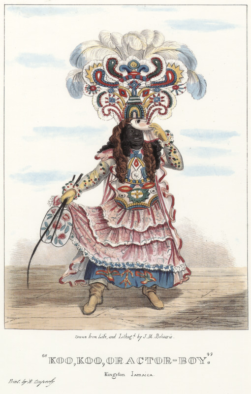 """This lithograph shows a man who is lifting a mask to show his face. He wears an elaborate carnival costume or dress, while holding a fan. Belisario explained how actors """"were literate street performers who recited passages from, for example, Shakespeare plays and engaged in pantomime. They content themselves annually with the public exhibition of their finery, and station themselves in a busy area of Kingston where gentlemen who may be passing are requested to decide which is the smartest dressed, presumably by tipping them."""" Isaac Mendes Belisario (1795–1849) was a Jamaican artist of Jewish descent and active in Kingston Jamaica around British emancipation in 1833. The image shown here, as well as others of """"John-Canoes,"""" was drawn from life by Belisario in 1836. This lithograph is one of twelve originally published in three parts, four plates at a time. See also image Belisario05."""