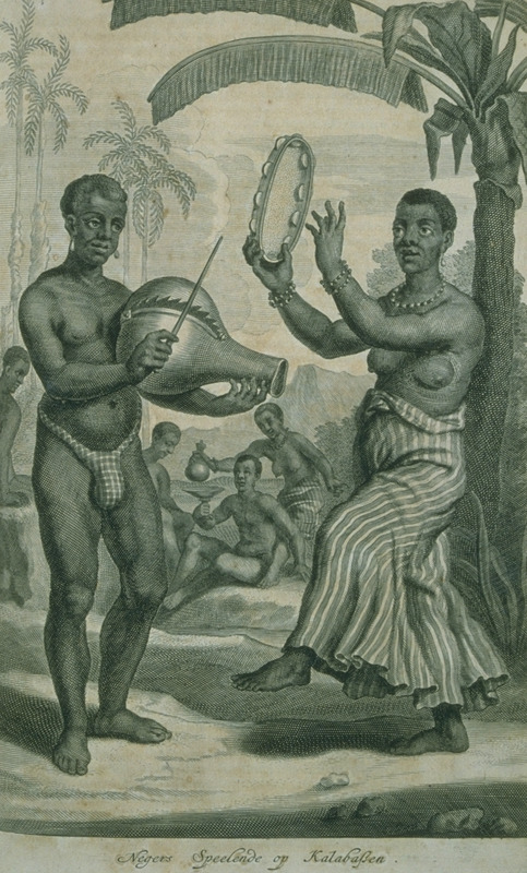 Caption, Negers speelende op kalabassen (Negroes playing upon calabashes); shows a man and a woman, latter with a tambourine. Also published in A. Churchill, ed., A collection of voyages (London, 1704), vol. 2, facing p. 146 and other editions of Awnsham and John Churchill (compilers), Collection of Voyages, e.g., London, 1732, with article Mr. John Nieuhoff's remarkable voyages and travels to Brazil.