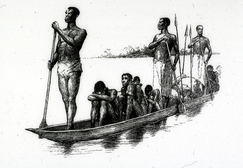 "This engraving depicts African slave traders and enslaved people in canoe from the Loango Coast and Kwanza North regions. Glave lived in the Congo for six years, 1883-1889. He provided a vivid account of slaving activities in the Congo river basin. The illustration was described as captives being ""hobbled with roughly hewn logs which chafe their limbs to open sores; sometimes a whole tree presses its weight on their bodies while their necks are penned into the natural prong formed by its branching limbs. Others sit from day to day with their legs and arms maintained in a fixed position by rudely constructed stocks, and each slave is secured to the roof-posts by a cord knotted to a cane ring which either encircles his neck or is intertwined with his woolly hair. Many die of pure starvation, as the owners give them barely enough food to exist upon. . . After suffering this captivity for a short time they become mere skeletons. All ages, of both sexes, are to be seen: mothers with their babes; young men and women; boys and girls; and even babies who cannot yet walk. . . One seldom sees either old men or old women; they are all killed in the raids"" (Glave, pp. 830-31). This image was reproduced in Thomas W. Knox, The Boy Travellers on the Congo (New York, 1887). A variant of this illustration, captioned for sale appears in Glave's book In Savage Africa (New York, 1892), p. 201)."