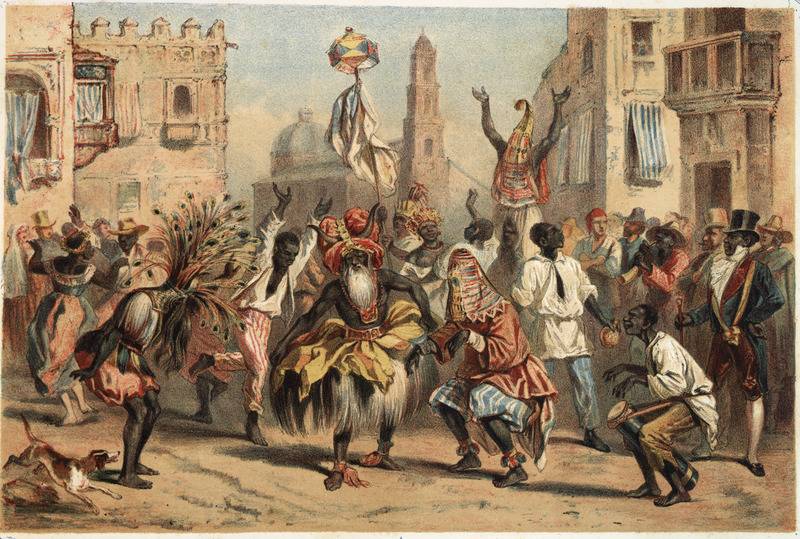 """""""Day of Kings"""" (caption translation). This lithograph shows the annual festival held on 6 January with Africans and their descendants dancing and playing a repertoire of musical instruments openly in the streets of Havana. Frédéric Mialhe (1810-c. 1861), also Federico Mialhe, was a French landscape painter and draughtsman. He went to Cuba on by invitation of the Real Sociedad Patriótica. He designed three sets of lithographs from 1838 to 1854. The publisher, Bernardo May, claimed ownership of this image and sold them under his own name. For a discussion on the image see Emilio Cueto, Mialhe's Colonial Cuba (Miami: The Historical Association of Southern Florida, 1994), p. 105. See also image ILN026."""