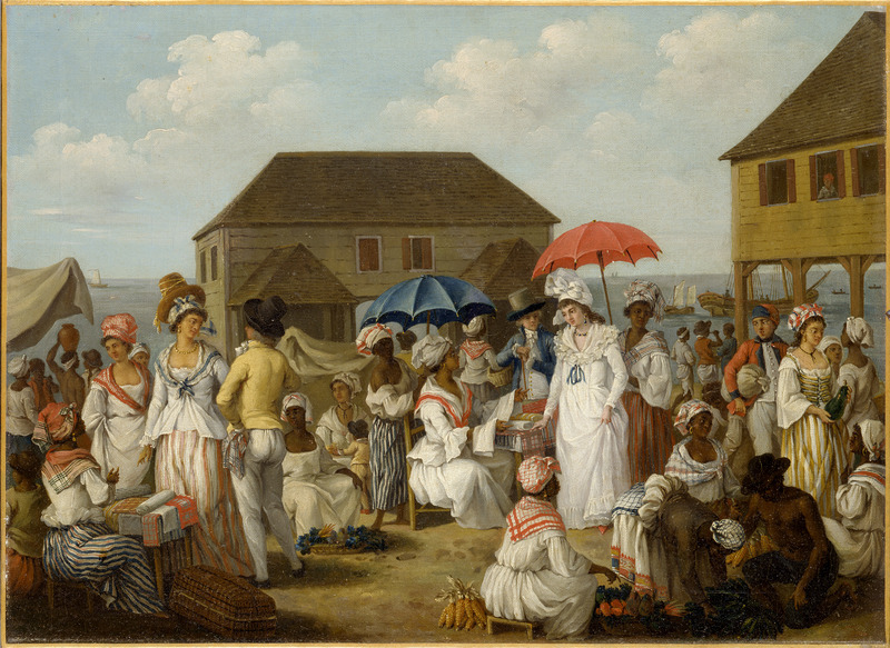 This painting shows enslaved people, free people of color, and Europeans in a crowded market scene. Agostino Brunias (sometimes incorrectly spelled Brunyas, Brunais), was a painter born in Italy in 1730. He came to England in 1758 where he became acquainted with William Young, who had been appointed to a high governmental post in West Indian territories acquired by Britain from France. In late 1764, Brunias accompanied Young to the Caribbean as his personal artist. Arriving in early 1765, Brunias stayed in the islands until around 1775, when he returned to England (exhibiting some of his paintings in the late 1770s). He returned to the West Indies in 1784 and remained there until his death on the island of Dominica in 1796. Although Brunias primarily resided in Dominica, he also spent time in St. Vincent and visited other islands, including Barbados, Grenada, St. Kitts, and Tobago. See Lennox Honychurch, Chatoyer's Artist: Agostino Brunias and the Depiction of St Vincent, for what is presently the most informative and balanced discussion of Brunias and his romanticized and idyllic paintings of West Indian scenes and slave life (Jl of the Barbados Museum and Historical Society, vol. 50 [2004], pp.104-128); see also Hans Huth, Agostino Brunias, Romano (The Connoisseur, vol. 51 [Dec. 1962], pp. 265-269). Some of the features and human subjects in this scene are also found in the Brunias oil painting, Linen Market at St. Domingo (see image reference NW0009).
