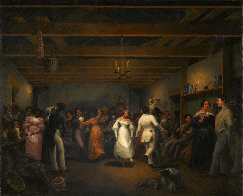 Titled Kitchen Ball at White Sulphur Springs, Virginia, 1838, this oil painting was made by Christian Freidrich Mayr (1803-1851), a German born painter who migrated to America in the early 1830ís. He worked a great deal in the South as an itinerant artist specializing in scenes of everyday life, but earned a living by painting portraits; he died in New York City. In 1838, he visited White Sulfur Springs, a popular mountain resort for wealthy Virginians and other Southern whites. Kitchen ball may represent some sort of celebration, but it can merely be a normal weekend dance and the formal attire of the participants (particularly the central figures dressed in white) may reflect artistic license and embellishment. On the right a fiddler sits on a bench; on one side of him a man plays a flute and on the other side an unseen person plays what appears to be a cello. Although writers often characterize this painting as a slave ball or dance, the people shown may have included free domestic servants as well as slaves attending their wealthy owners on holiday. Frederick Marryat, the English writer, visited White Sulphur Springs (today, located in West Virginia) in 1838 and noted the presence of a large number of negro servants here attending their masters and mistresses. During his visit he encountered Mayr who had painted a kitchen-dance in Old Virginia, and in the picture he had introduced all the well-known coloured people in the place; Jules Zanger, ed., Captain Frederick Marryat, Diary in America (Indiana University Press, 1960), pp. 272-273. Also, E. Johns, American Genre Painting (Yale University Press, 1991), pp. 114, 231n19; H. M. Kastinger Riley, Christian Friedrich Mayr, The Magazine Antiques (November 1998); J. A. Cuthbert , Early Art and Artists in West Virginia (West Virginia University Press, 2000), 213. Thanks to Angela Bell-Morris for her assistance; and to Kelley Deetz for bringing this painting to our attention.