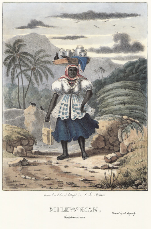 "This lithograph depicts a woman carrying milk products in a bowl on her head. Belisario explained how this milk seller ""many Colored persons, as well as free Negroes living at short distances from towns or villages find it to their advantage to supply the inhabitants with goats' milk, which being richer than that of the cow, is therefore preferred by most families. The woman is on her way to town from the country in the early morning. Divested of the encumbrance of shoes and stocking and with the dress of a convenient walking length, the Milkmaid of Jamaica travels along at a rapid rate. . . arrived in town, she announces herself with 'See me day a wid de milk' (Here I am with the milk)."" Isaac Mendes Belisario (1795–1849) was a Jamaican artist of Jewish descent and active in Kingston Jamaica around British emancipation in 1833. The image shown here, as well as others of ""John-Canoes,"" was drawn from life by Belisario in 1836. This lithograph is one of twelve originally published in three parts, four plates at a time."