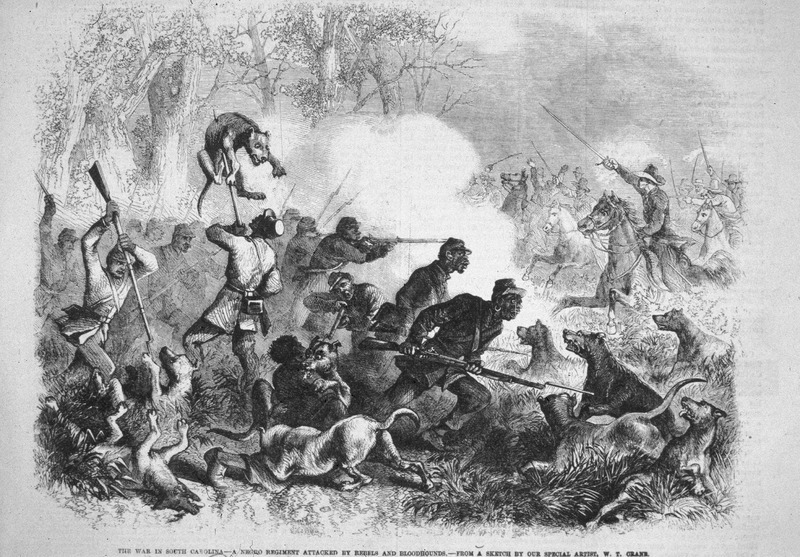 Captioned, The War in South Carolina--a Negro regiment attacked by Rebels and Bloodhounds--from a Sketch by our Special Artist, W. T. Crane, shows black troops bayoneting bloodhounds, with Confederate soldiers in a cavalry charge. (Slide of image and bibliographic citation, courtesy of Phil Lapsansky). See also image reference Wilson322.