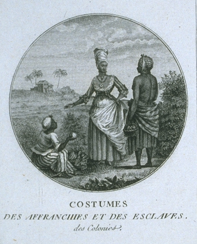 Captioned, Costumes des Affranchis et Des Esclaves des Colonies (clothing worn by free people of color and slaves in the colonies), this shows a free woman of color buying vegetables or fruit from slave vendors. Engraving by Ponce for Moreau de Saint Mery, Loix et Constitution des Colonies Francais (Paris, 1784, 1790). This image is the same as that titled The Barbados Mulatto Girl in this collection (image NW0016), and is utlimately derived from a painting by Agostino Brunias. For biographical details on Brunias, see image NW0016.