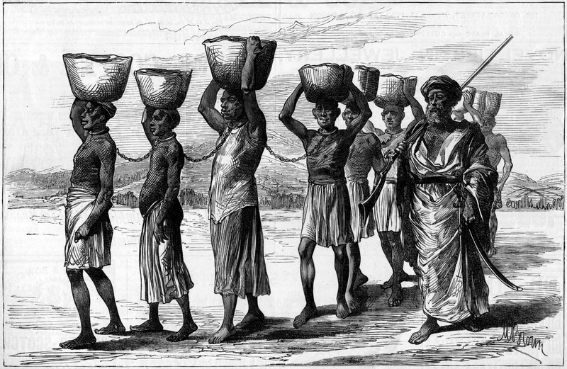 Although depicting a scene in the East African slave trade, the scene is evocative of coffles in other areas. Captioned A slave gang in Zanzibar, the setting is actually the East African coast rather than the island of Zanzibar itself, and some of the enslaved Africans with this particular trader came from beyond Lake Tanganyika . . . months ago. The picture shows captured Africans linked by metal (?) neck collars and chains, carrying baskets of goods, and guarded by an armed Arab slaver. The engraving is based on a sketch furnished by W. A. Churchill, and the brief accompanying article (p. 342) provides a description and harsh criticism of the Arab slave trade.