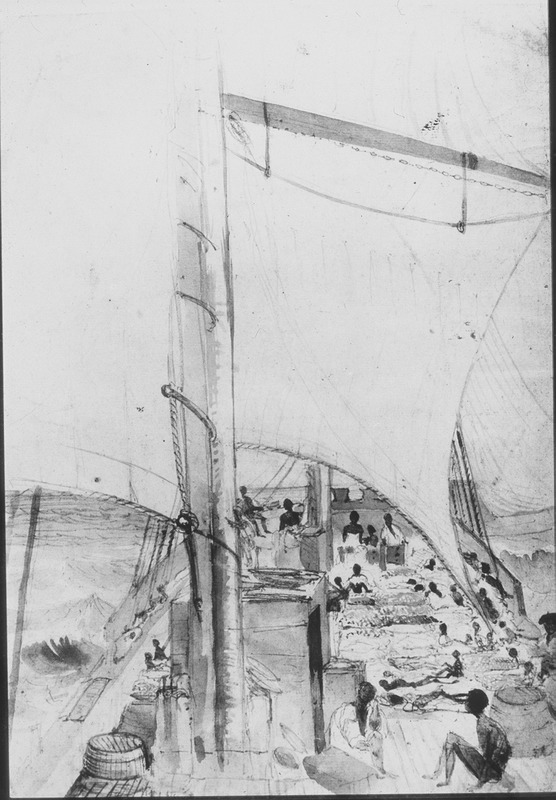 """Pencil drawing by Lt. Francis Meynell, shows Liberated Africans on top deck of the Albatross, a British naval vessel. From Nov. 1844 to May 1845, Meynell was mate on the Albatross, which had captured the Brazilian slaving vessel, Albanez, off the mouth of the Kwanza River on 29 February 1845. The drawing was apparently of the Albatross deck after the Africans had been removed from the Albanez. In a dispatch dated 16 March 1845, sent by Reginald Yorke, captain of the Albatross, to the British naval office, Yorke identified the captured brig as the Albanez, and described how it was captured, whereby """"150 Africans were on board, [while] the rest of her cargo, making a total of 737 slaves were moored alongside in rafts made of the stalks of palm leaves, ready to be embarked, which rafts were also loaded with casks of water (see The National Archives, FO 84/610, ff. 217-218). The captured ship was provisioned and sent to Sierra Leone in the Upper Guinea Coast region under command of one of the officers of the Albatross. However, a document from the Vice-Admiralty Court of Sierra Leone notes that 705 slaves were on board the Albanez when captured and that 148 died between the time of capture and adjudication by the court in Freetown, Sierra Leone. Of the contingent of 705 who survived the middle passage, 557 were ultimately emancipated in Sierra Leone (Irish University Press Series of British Parliamentary Papers, Slave Trade, vol. 32). Another account of the capture is published in The Illustrated London News, May 10, 1845 (vol. 6, p. 301). The ILN account is similar and also based on a letter from Yorke, but some details differ, e.g., the ILN account specifies that the slaving ship, unnamed, was captured off the Congo river (sic) and that it had already embarked 300 [sic] Negroes out of what would have been a whole cargo of 743 slaves. D. Hamilton and R. Blyth, Representing Slavery: Art, Artifacts and Archives in the Collections of the National Maritime Museum (London, """