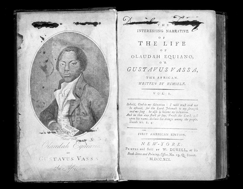Portrait and title page, New York edition (one of several later editions of the first one that appeared in 1789) of Equiano's Narrative. For details, see image 1029 on this website.
