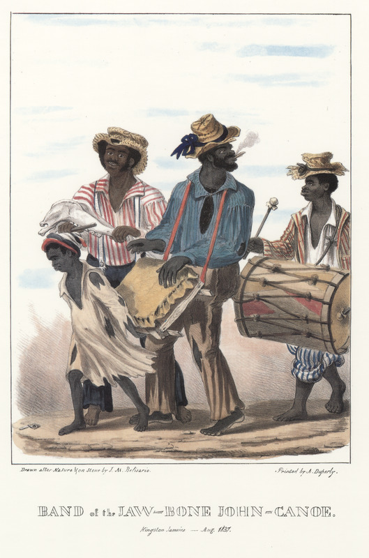 """This lithograph shows three men playing instruments with a small child in front. Belisario described """"one man playing a conventional Western drum, a Bass drum while another plays the Gumbay (also called a Box or Bench drum); the latter is a small square wooden frame over which a goat's skin is tightly strained and is supported by a tattered urchin. A rasp is played by the man on the left; it is simply the lower jaw of a horse, on the teeth of which a piece of wood is passed quickly up and down, occasioning a rattling noise."""" Isaac Mendes Belisario (1795–1849) was a Jamaican artist of Jewish descent and active in Kingston Jamaica around British emancipation in 1833. The image shown here, as well as others of """"John-Canoes,"""" was drawn from life by Belisario in 1836. This lithograph is one of twelve originally published in three parts, four plates at a time. See also image Belisario05."""