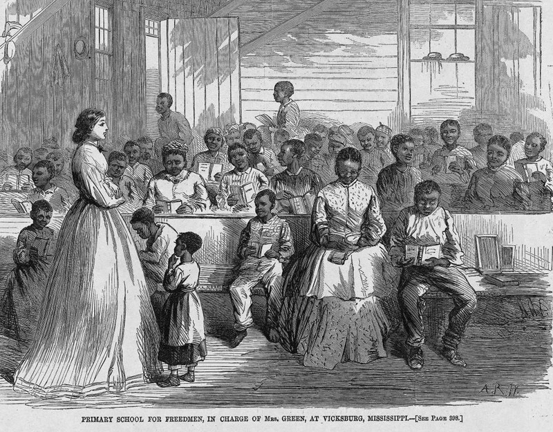This illustration accompanies an article describing the racial atmosphere of Mississippi as not being conducive to the learning environment of blacks. The teacher, Mrs. Green, is one of a few whites who believes in the education of Negroes, but other whites in the community are suspicious of this new situation. Harper's Weekly: A Journal of Civilization was an American political magazine based in New York City and published by Harper & Brothers from 1857 until 1916. It featured foreign and domestic news, fiction, essays on many subjects and humor, alongside illustrations. It covered the American Civil War extensively, including many illustrations of events from the war.