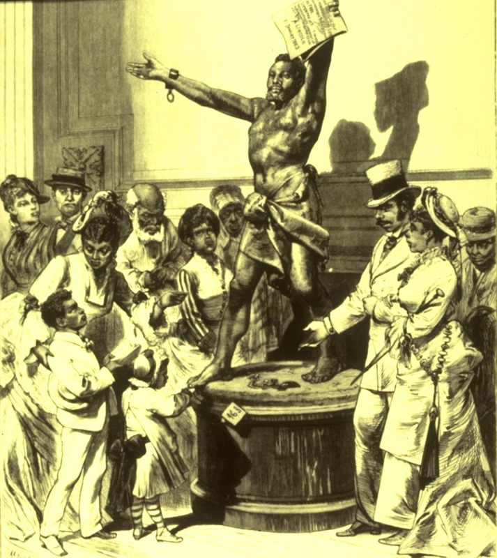 Bronze statue by Francisco Pezzicar, sketched by a special artist. Caption, Philadelphia, Pa. The Centenniel Exposition. The Statue of the 'Freed Slave' in Memorial Hall. The statue is now located in the Civico Museo, Revoltena, Trieste, Italy. See also, Hugh Honour, The Image of the Black in Western Art (Menil Foundation, Harvard University Press, 1989), vol. 4, pt. 1, p. 256, fig. 163.