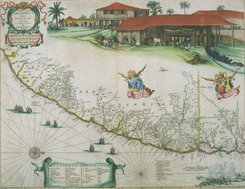 This colored image is based on a plate inserted into an unidentified volume (perhaps Joan Blaeu's 1662, Atlas maior), without title page, in the John Carter Brown Library. Captioned, Prefecturae Paranambucae pars Borealis, this inset from a map of Brazil shows sugar works and various plantation buildings, and slaves engaged in various tasks of sugar manufacture. The image was first published by Joan Blaeu in Caspar van Baerle's Rerum per octennium . . . Historia (1647). Also published in Joan Blaeu, Atlas maior, . . Cosmographia Blaviana (Amsterdam, 1662). Compare with image blaeu04a on this website, which has an additional scene in the center of a group of slaves carrying a planter's wife (?) in a hammoc; also, image NW0062-a, showing only sugar works and plantation buildings. (Thanks to Blanche Ebeling-Koning, of the JCB, for her assistance in describing this item).