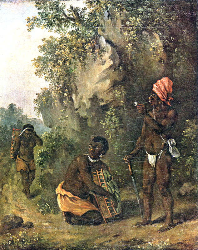 """This oil painting shows three men trekking through a forest, while one crouches to take a rest. A man in the back is carrying a heavy load. The so-called """"Black Caribs"""" were descendants of the indigenous Caribs and fugitive black slaves from St. Vincent and neighbouring islands. In the late seventeenth and early eighteenth centuries, many of slaves came from Barbados, 100 miles to the east of St. Vincent. Agostino Brunias (1730–1796), also Brunyas, Brunais, was an Italian painter. He went to London in 1758 where he became acquainted with William Young, who was appointed to a high governmental post in West Indian territories acquired by Britain from France during the Seven Year's War. In late 1764, Brunias accompanied Young to the Caribbean as his personal artist. Arriving in early 1765, Brunias stayed in the islands until around 1775, when he returned to England and exhibited some of his paintings. He returned to the West Indies in 1784 and remained there until his death on the island of Dominica in 1796. Although Brunias primarily resided in Dominica, he also spent time in St. Vincent and visited other islands, including Barbados, Grenada, St. Kitts and Tobago. See Lennox Honychurch, """"Chatoyer's Artist: Agostino Brunias and the Depiction of St Vincent,"""" Journal of the Barbados Museum and Historical Society 50 (2004): p.104-128; Hans Huth, """"Agostino Brunias, Romano,"""" The Connoisseur 51 (1962): p. 265-269."""